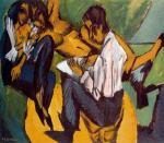 Artista con due donne mentre esegue uno schizzo