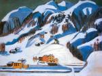 Berge und Hauser im Schnee