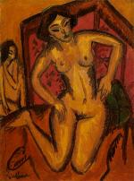 Desnudo femenino de rodillas ante un biombo rojo