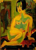 Desnudo femenino sentado. Estudio