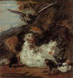 A Hen and Her Chicks (after Melchior d'Hondecoeter)