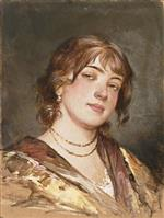 Portrait of Young Woman with Necklace and Earrings