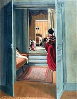 Interior with Woman in Red from Behind