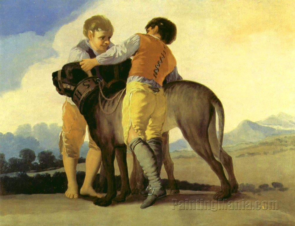 Boys with a Mastiff