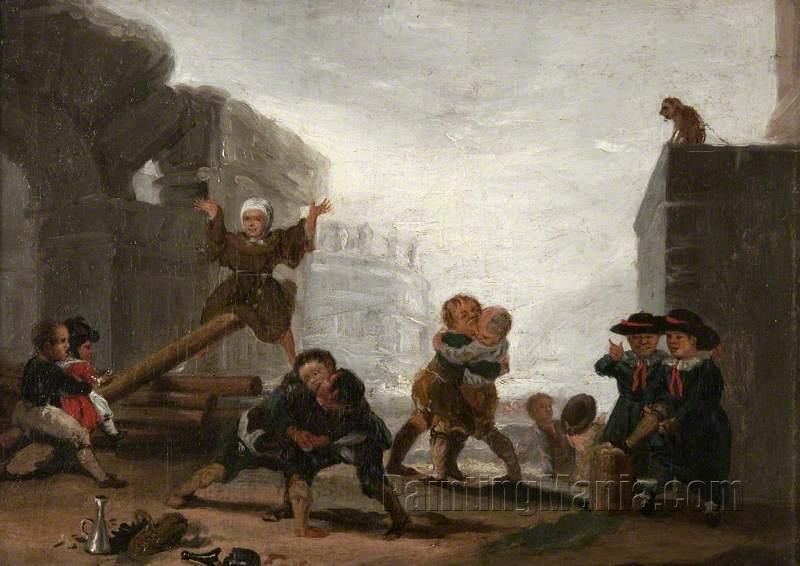 Boys Playing at See-Saw