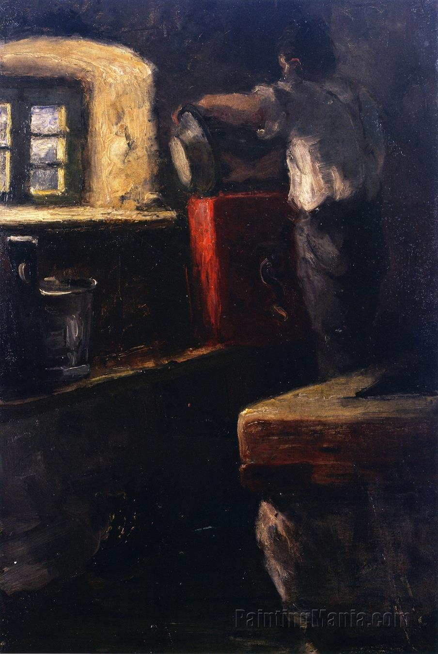 Alpine Herdsman in His Cottage