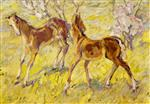 Foals at Pasture (Leaping Foals)