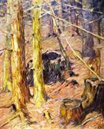 Forest Interior with Deer