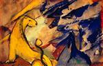 Yellow Lion, Blue Foxes, Blue Horse