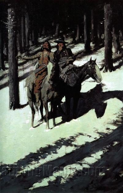 Frederic Remington American Impressionist Indians Simulating Buffalo ART