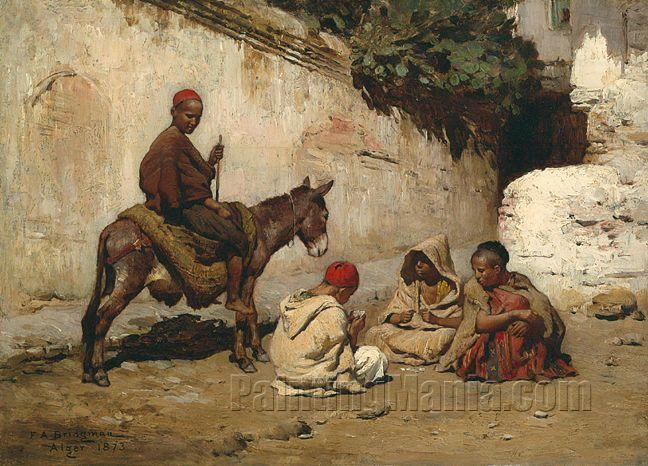 Arab Children Playing Cards - Frederick Arthur Bridgman Paintings