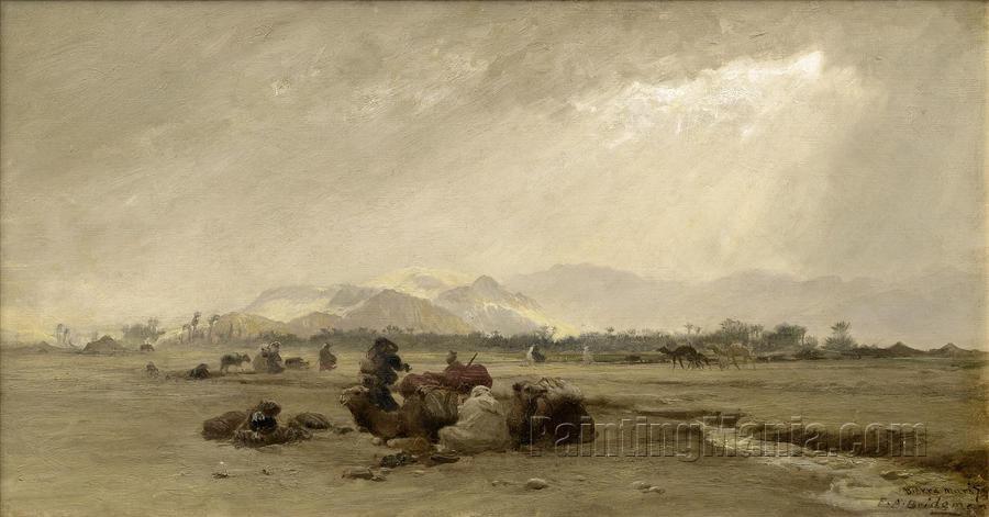 A Halt at the Biskra Oasis