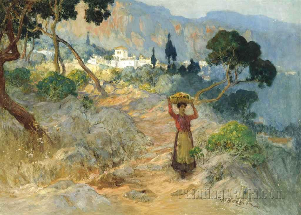A Maiden Carrying Oranges before an Italian Village