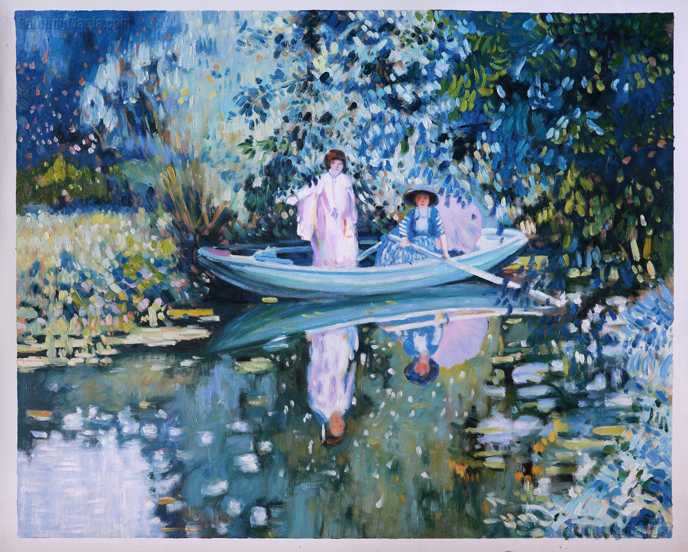 Grey Day on the River (Two Ladies in a Boat)