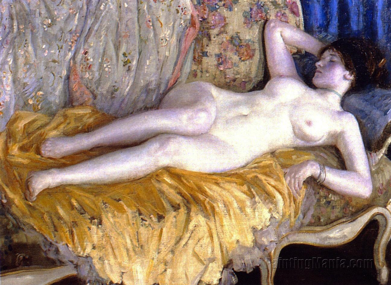 Lady on a Gold Couch