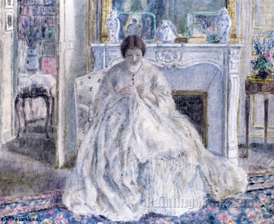 Woman Seated by a Fireplace