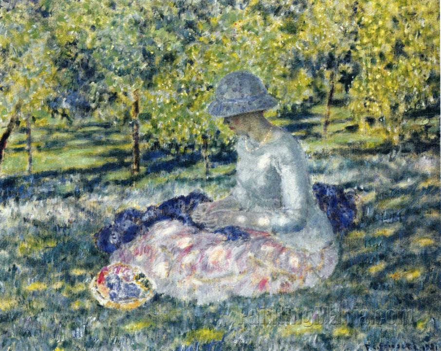 Woman Seated in a Park with Basket