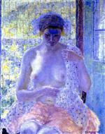 Nude in Window (Seated Female, Semi-Nude)