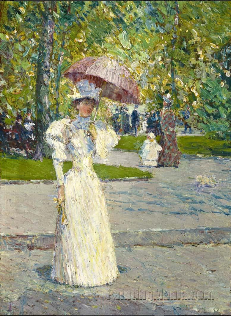 Woman With A Parasol In A Park Frederick Childe Hassam Paintings