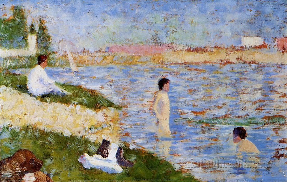 Bathing at Asnieres - Bathers in the Water