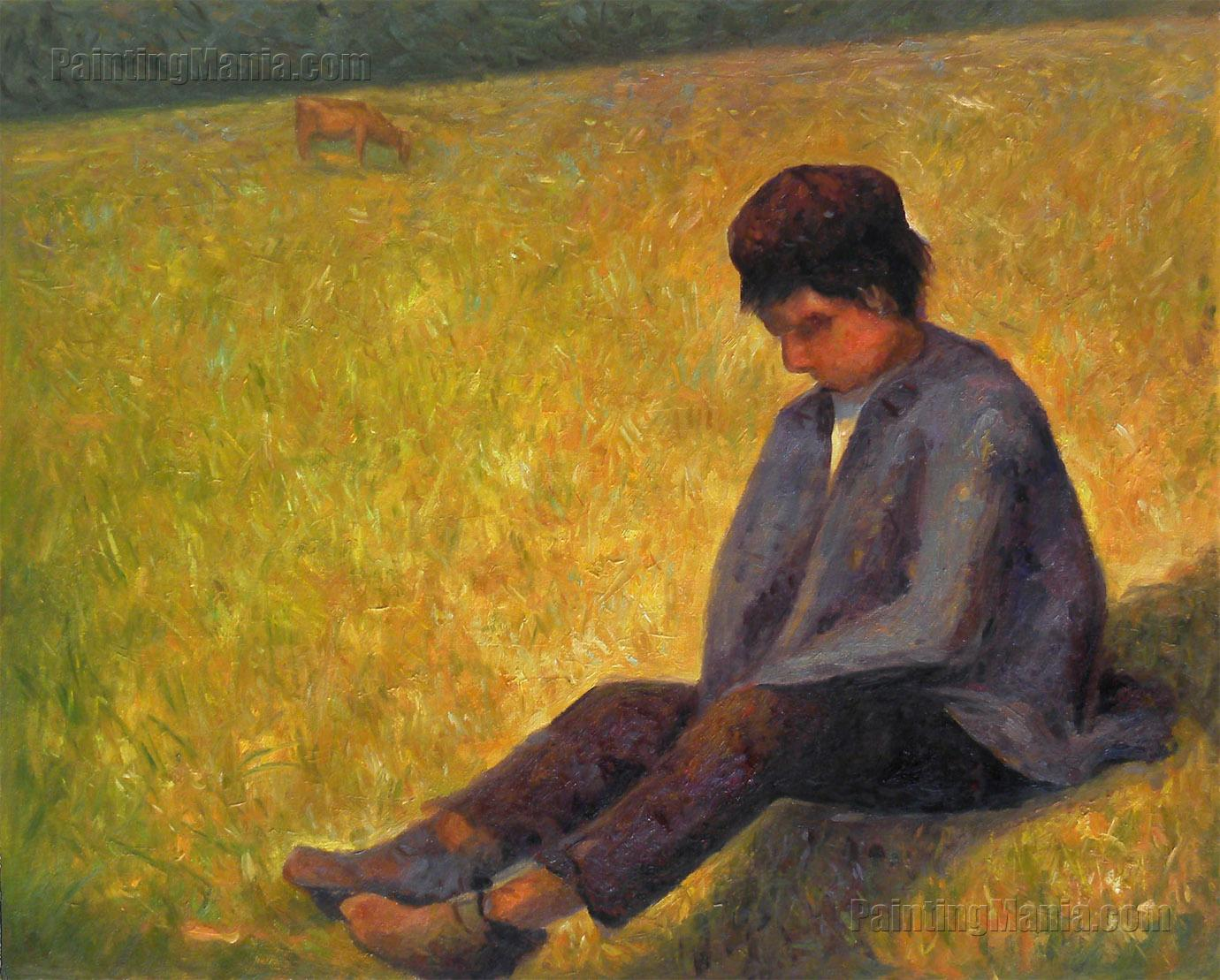 On a Meadow Sitting Boy