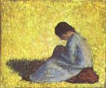 On a Meadow Sitting Farmer Girl