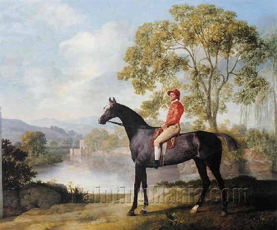 """""""Euston"""", A Dappled Grey Racehorse with Jockey Up in a River Landscape"""