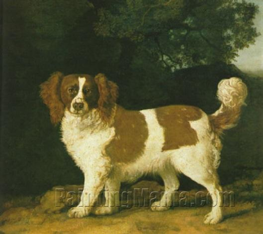 """Fanny,"" the favorite spaniel of Mrs. Musters, standing in a wooded landscape"