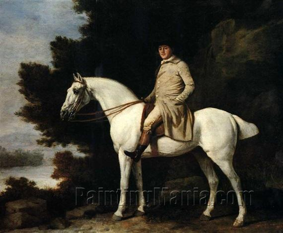 A Gentleman on a Grey Horse in a Rocky Wooded Landscape