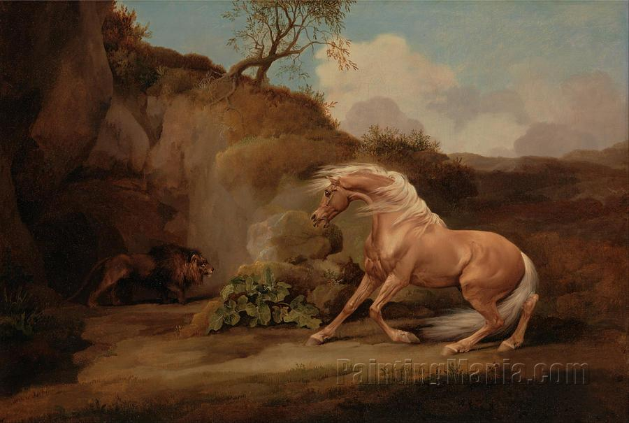 A Horse Frightened by a Lion Animals