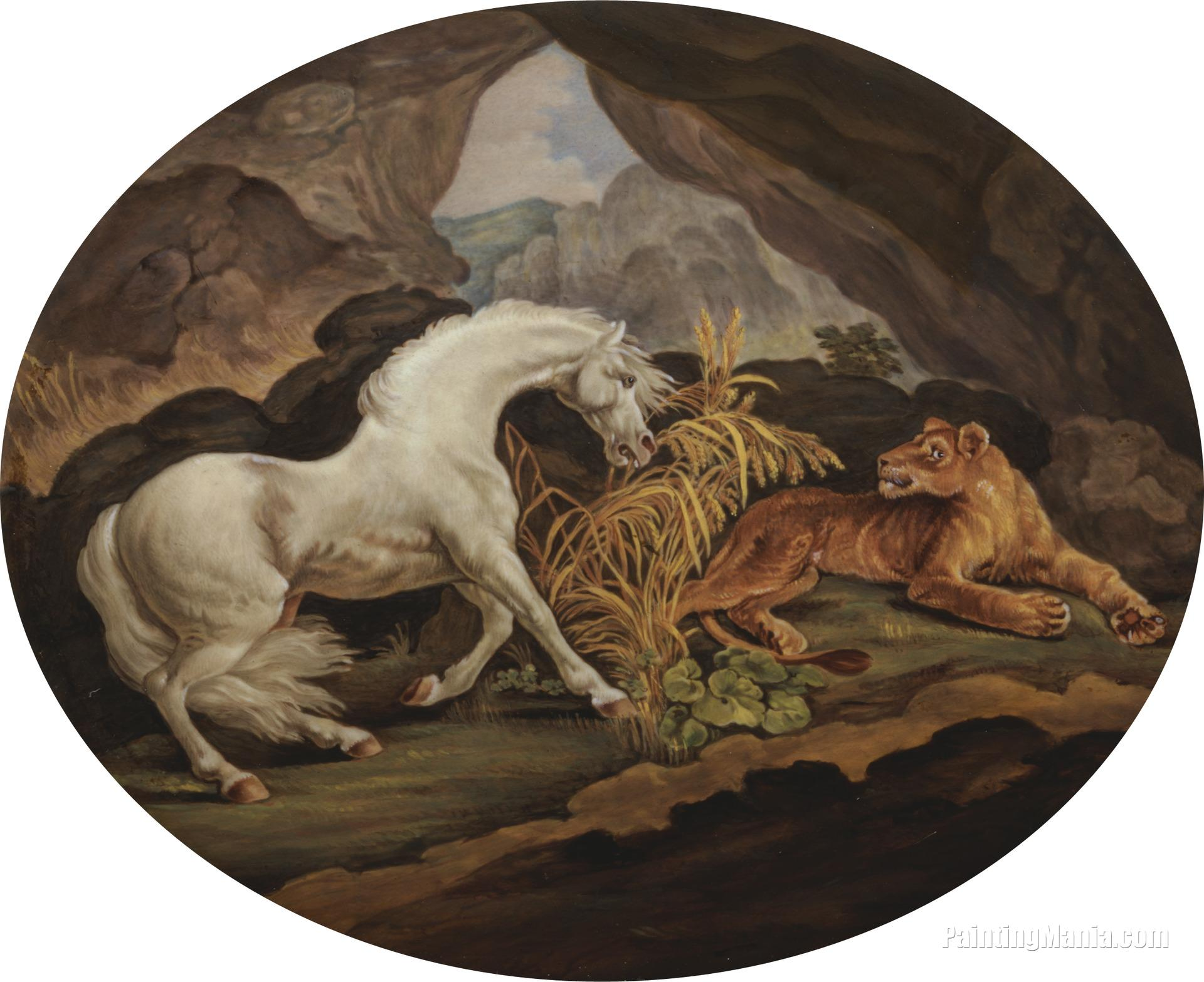 A Horse Frightened by a Lioness