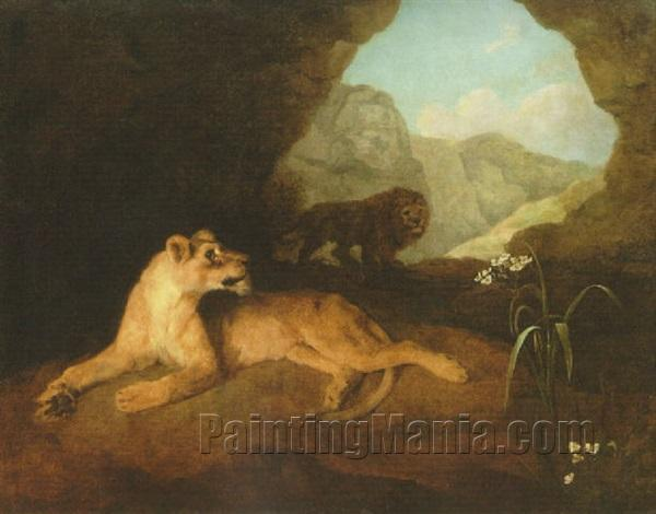 A Lion and Lioness in a Cave