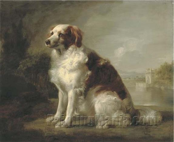A Red and White Dog, in a Landscape, a Fortified Tower and an Estuary Beyond