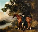 A Gentleman in Riding Clothes Standing beside a Chestnut a Hunter