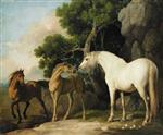 A Mare and Foal with a Bay Horse