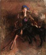 Lady with Black Greyhound