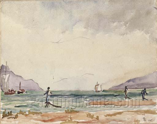 Bathers with Sailing Ships