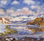 Blick von Maloja uber den halbgefrorenen Silsersee