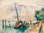 Figures at Landing Stage with Boat (Ticino)