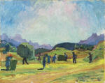 Haymaking in Capolago with Views of the Valley's Mountains