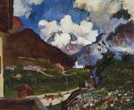Maloja mit Monte Forno und Cima de Rosso