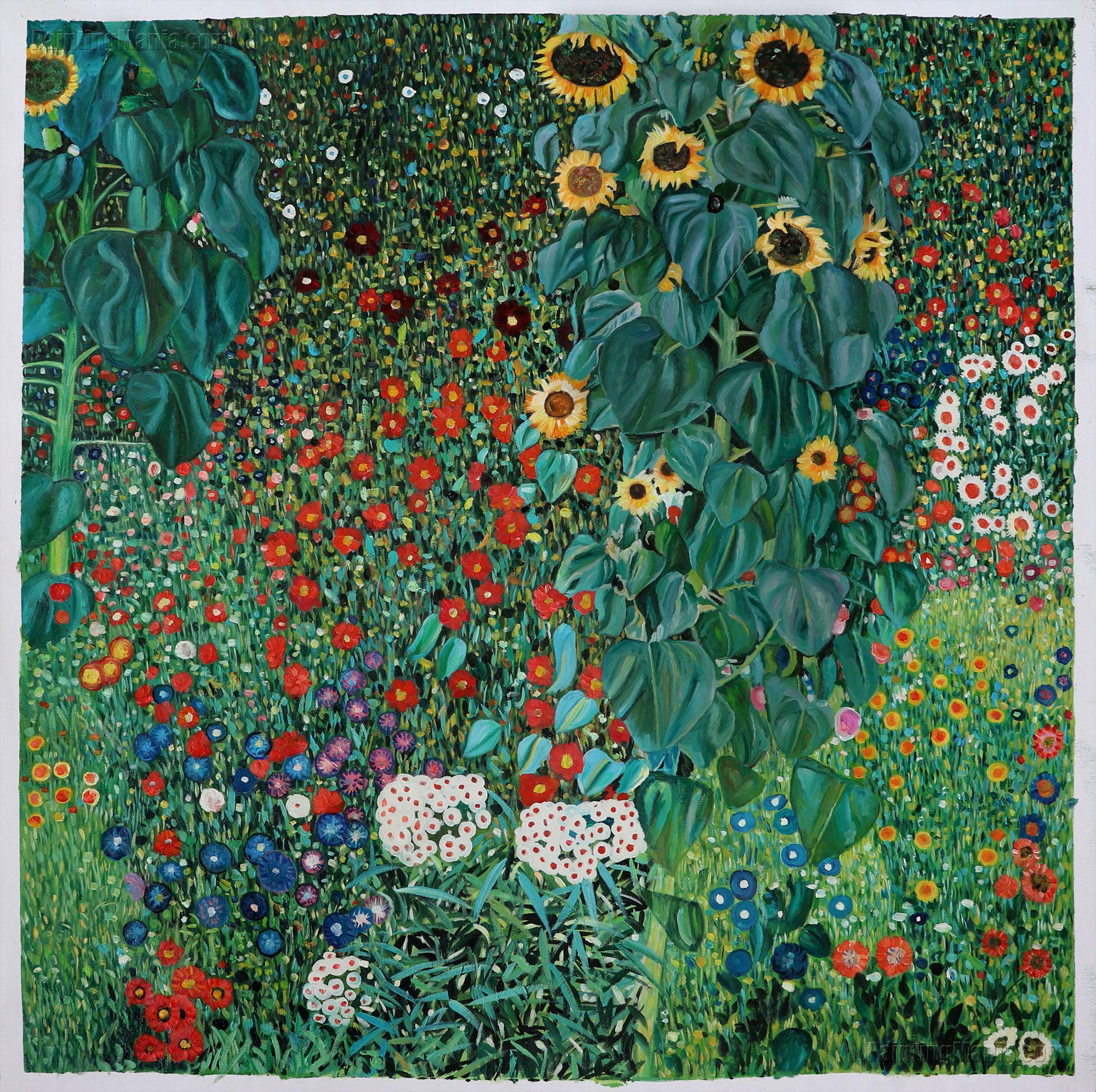 farm garden with sunflowers gustav klimt paintings