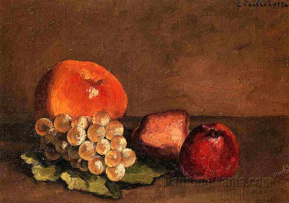 Peaches, Apples and Grapes on a Vine Leaf