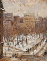 Square in Paris, Snowy Weather