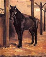 Yerres, Dark Bay Horse in the Stable