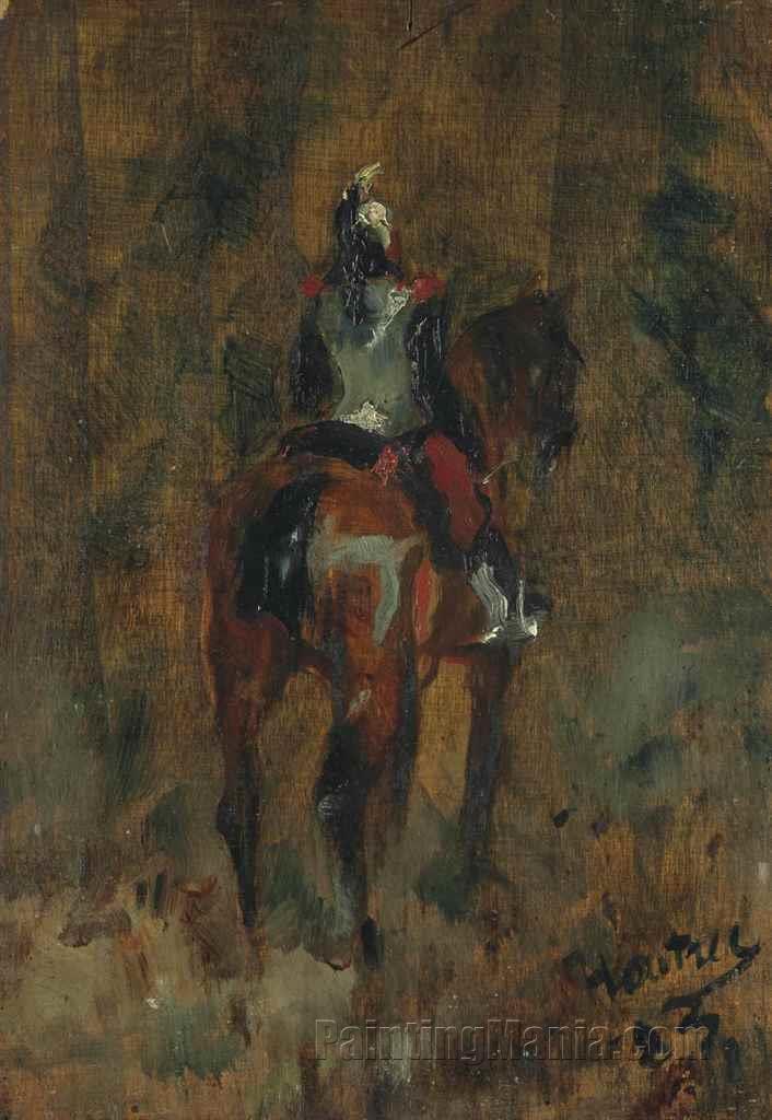 Cuirassier a cheval, vu de dos