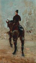Artilleur a cheval, vue de dos