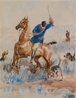 Chasse a courre avec piqueur et ses chiens