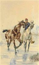 Chevalier menant un cheval