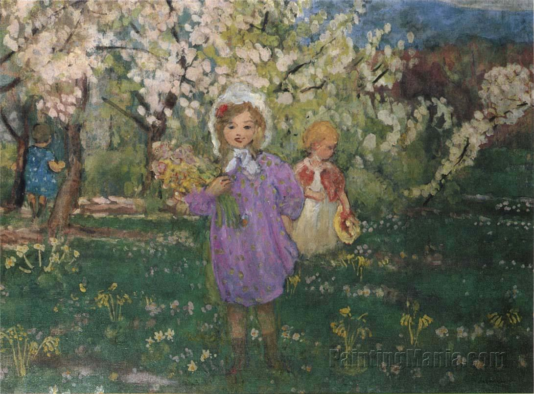 Children With Spring Flowers Henri Lebasque Paintings